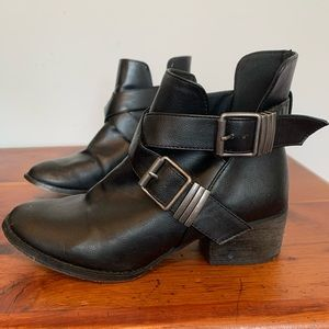 Faux Leather Ankle Booties w/ Buckles